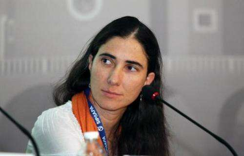 Cuban blogger Yoani Sanchez during a conference in Puebla, Mexico, on March 9, 2013