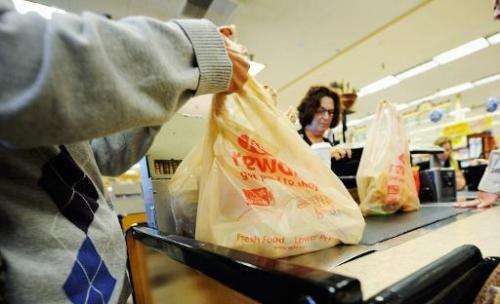 Customers of Ralphs supermarket use plastic bags to carry their groceries back home, in Glendale, California, on October 25, 201