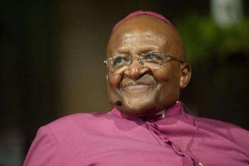 Desmond Tutu speaks on April 29, 2014 in Cape Town, South Africa