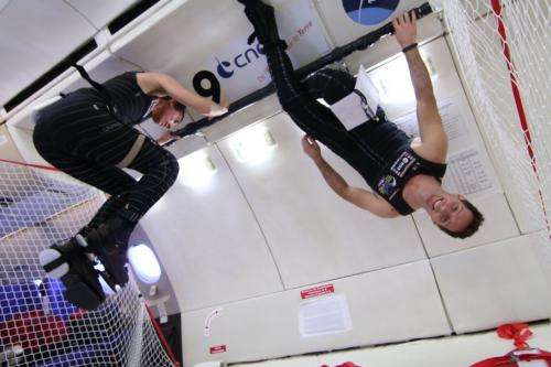 ESA astronaut Thomas Pesquet testing Skinsuit in weightlessness
