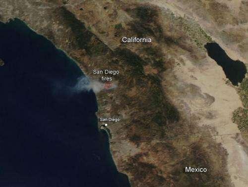 NASA image: Fires continue in San Diego County, California