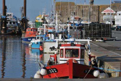 Fishing boats are docked in Saint-Nazaire, western France, on March 5, 2014