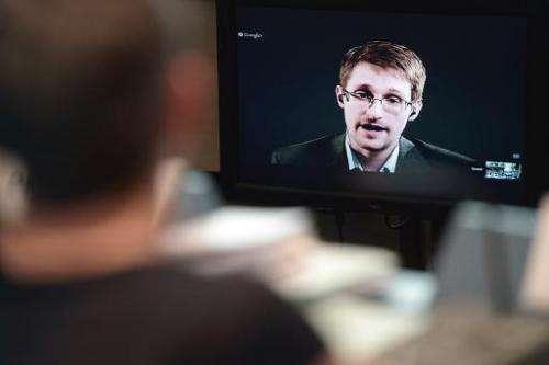 Former US intelligence analyst Edward Snowden speaks to European officials via videoconference on June 24, 2014