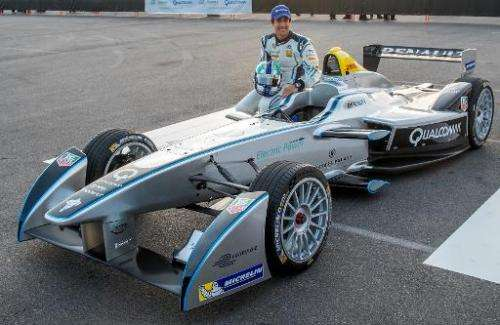 Formula E's new fully-electric race car, the Spark-Renault SRT_01E,  entertaining crowds at the 2014 International CES on Januar
