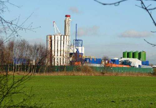 General site where exploratory drilling for shale gas is being carried out in Manchester, England, on January 13, 2014
