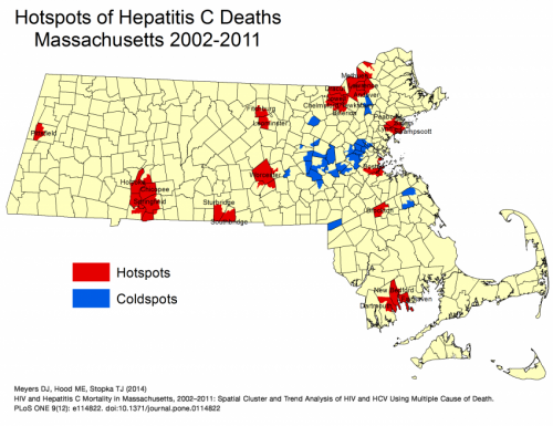 Geospatial study identifies hotspots in deaths from HIV/AIDS and Hepatitis C in Massachusetts