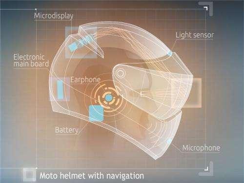 GPS-loaded helmet offers easier trip for motorcyclists