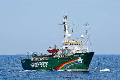 Greenpeace ship Artic Sunrise navigates the Mediterranean sea on May 25, 2010, during a protest against the overfishing of red t