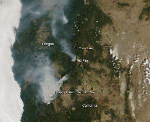 Happy Camp Fire in California and 790 Fire in Oregon