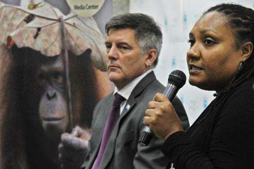 Helga Rainer (right), conservation director of the Great Apes programme at the Arcus Foundation, takes part in a press conferenc