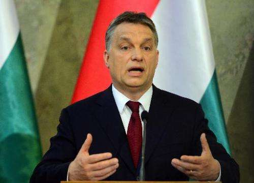 Hungarian Prime Minister Viktor Orban (pictured on April 7, 2014) said the Internet tax law needed to be amended, and that a &qu