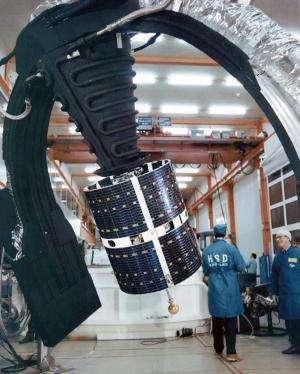 Image: ESRO-4 readied for solar simulation testing