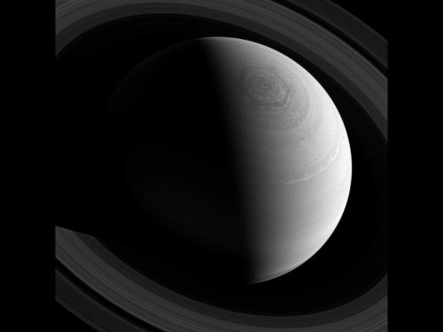 Image: Saturn's rings and hexagonal polar storm