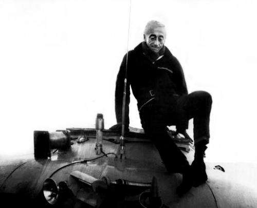 Jacques Cousteau pictured on 31 January 1968 after a research dive