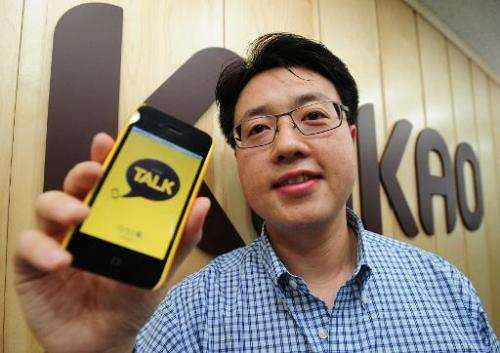 Lee Jae-Beom, CEO of Kakao Talk, poses for a photo at the company's office in Seoul, on July 13, 2011