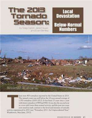 Magazine reporting below average numbers of tornados in 2013