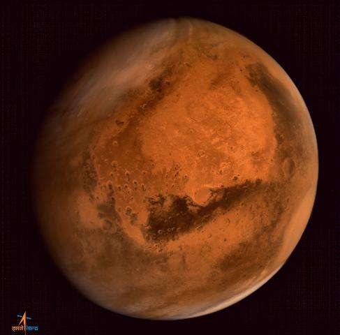 Mars is seen in an image taken by the ISRO Mars Orbiter Mission (MOM) spacecraft