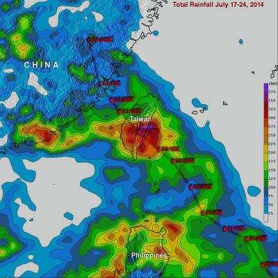 NASA maps Typhoon Matmo's Taiwan deluge