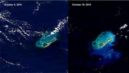 NASA sees Gonzalo affect Bermuda's ocean sediment: Stirred, not shaken