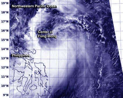 NASA sees western edge of Tropical Storm Fung-Wong affecting Philippines