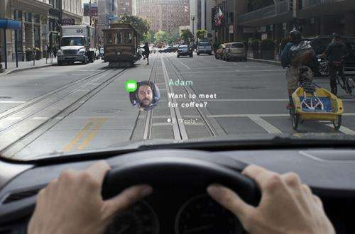 Navdy projects transparent image in driver's field of view