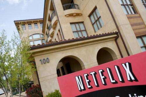 Netflix logo is seen outside the company's headquarters in Los Gatos, California, on April 13, 2011