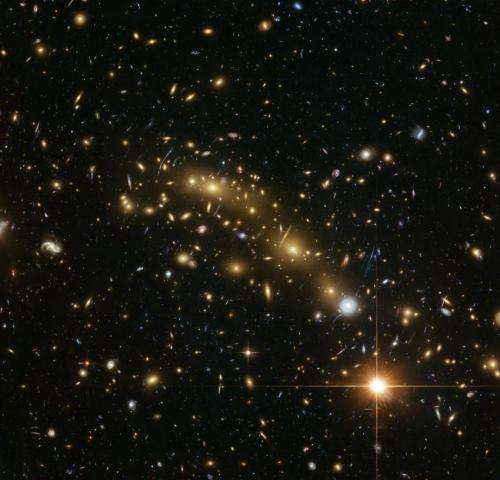 New mass map of a distant galaxy cluster is the most precise yet