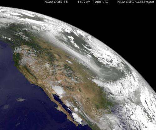 NOAA's GOES-West satellite sees smoke from Canadian fires over US