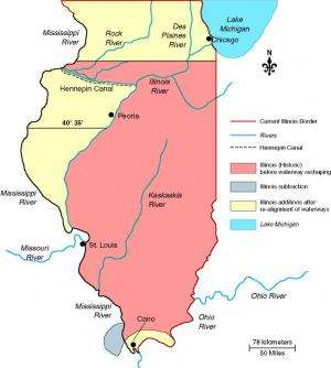 Original northern border of Illinois was south of Chicago and Lake Michigan