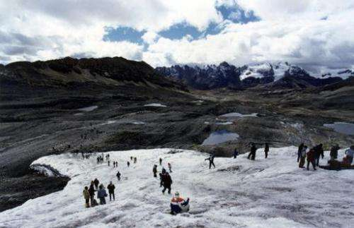 Part of the Pastoruri snowcapped mountain in the central Peruvian Andes, 450 km east of Lima