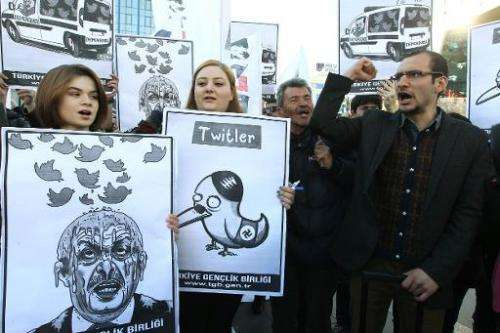 People hold placards as they protest against Turkey's Prime Minister Tayyip Erdogan after the government blocked access to Twitt