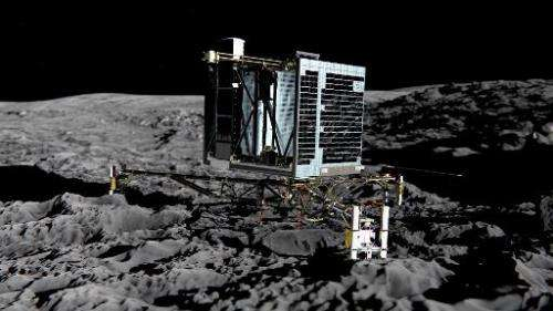 Photo released by the European Space Agency shows an artist impression of Rosetta's lander Philae (back view) on the surface of