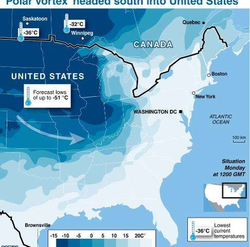 'Polar vortex' headed south into United States