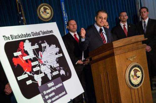 Preet Bharara, US Attorney for the Southern District of New York, speaks at a press conference on May 19, 2014 in New York City