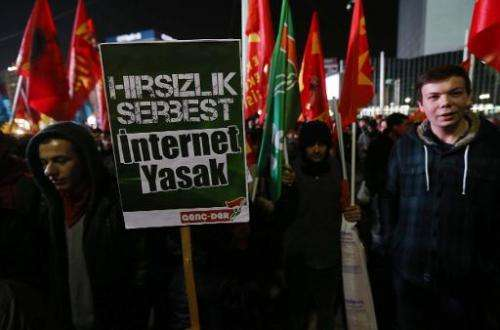 """Protesters hold a placard reading """"Theft is free, Internet is banned"""" as they demonstrate against new controls on the"""