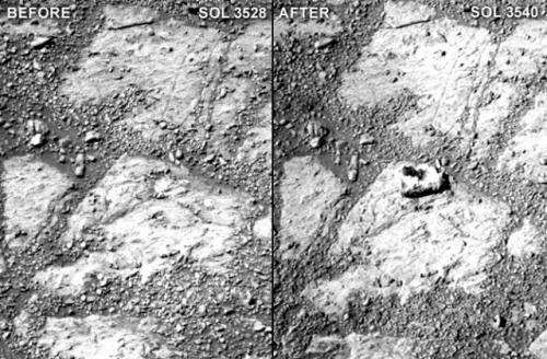 Rock appears mysteriously in front of Mars Opportunity rover