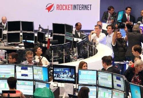 Rocket Internet stages its flotation on Frankfurt stock exchange on October 2, 2014