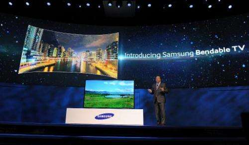 Samsung Electronics America Executive Vice President Joe Stinziano introduces Samsung's new bendable TV screen at the Samsung pr