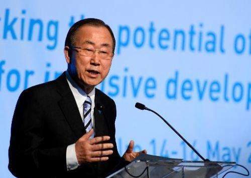 Secretary General of the United Nations Ban Ki-moon speaks during the 7th Global Forum on Migration and Development Government m