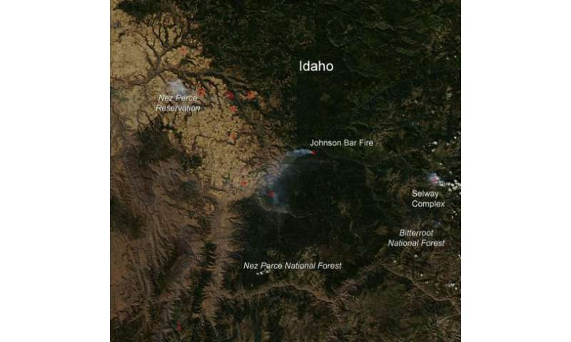 Selway complex and Johnson Bar fires in Idaho