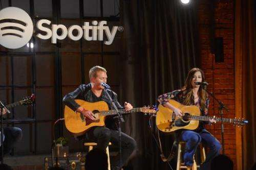 Singer/songwriter Shane McAnally and Kacey Musgraves perform during 'Spotify presents An Intimate Evening With Shane McAnally at