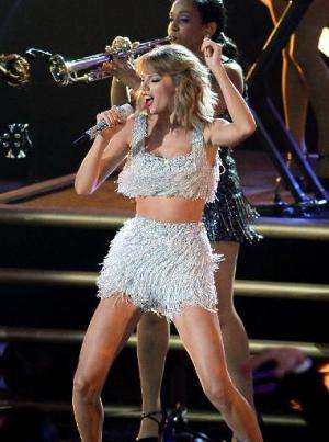 Singer Taylor Swift performs on stage at the MTV Video Music Awards (VMA), at The Forum in Inglewood, California, on August 24,