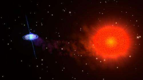 Slowly rotating neutron star paired with a red-giant star reveals properties that conflict with existing theory