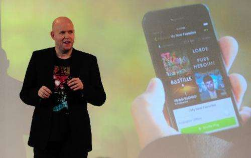 Spotify founder and CEO Daniel Ek addresses a press conference in New York, on December 11, 2013