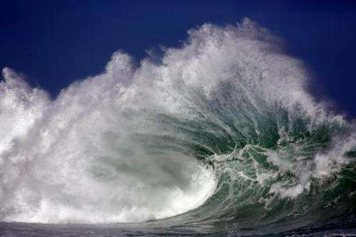 Strong waves hit the coast of Saint-Gilles de la Reunion, on the French Indian Ocean island of La Reunion, on June 22, 2014