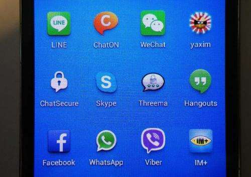 The apps (L,TOP-R,BOTTOM) Line, ChatOn, WeChat, Yaxim, ChatSecure, WhatsApp, Facebook, Hangouts, Threema, Skype, Viber and IM+ a