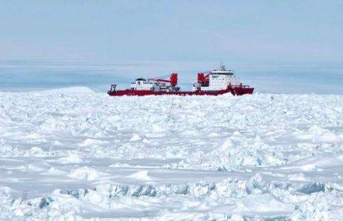 The Chinese research vessel Xue Long is shown January 2, 2014 trapped in the frozen waters of Antarctica