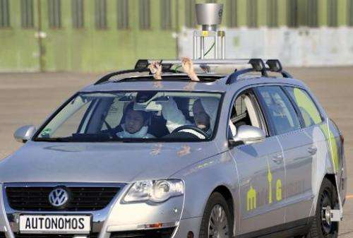 """The driverless car """"Made in Germany"""" (MIG) is put through its paces at Berlin's disused Tempelhof airport, on October"""