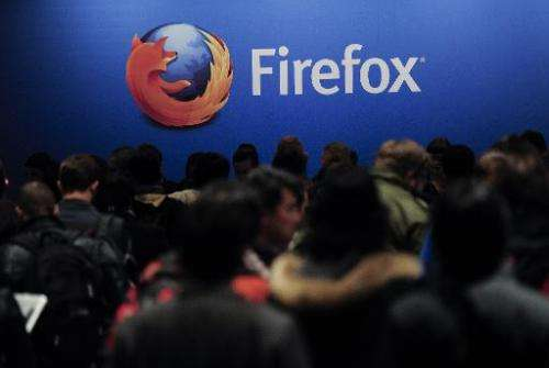 The Firefox logo is seen at the 2013 Mobile World Congress in Barcelona on February 24, 2013
