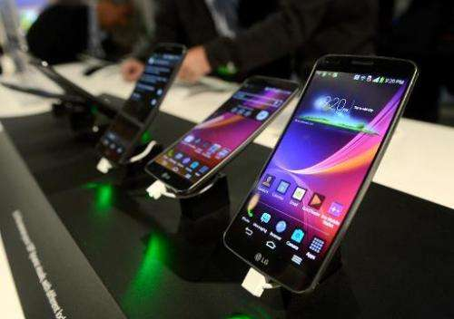 The LG G Flex telephone on display at the 2014 International CES in Las Vegas on January 7, 2014